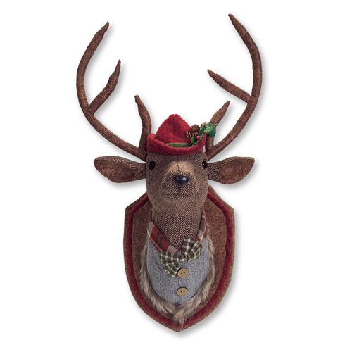 Red and Green Dressed and Mounted Deer Head