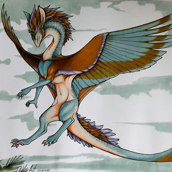Dragon made with markers and detailed with colored pencils, by Line Eriksen
