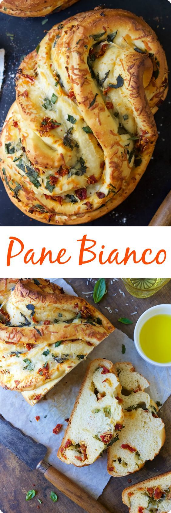 Pane Bianco   This recipe makes a tasty loaf filled with fresh basil, tomatoes, garlic, and shredded cheese; the bread has wonderful soft texture, and is packed with flavor. The unique shape is simple to achieve, and makes an impressive presentation. Find recipe at redstaryeast.com.