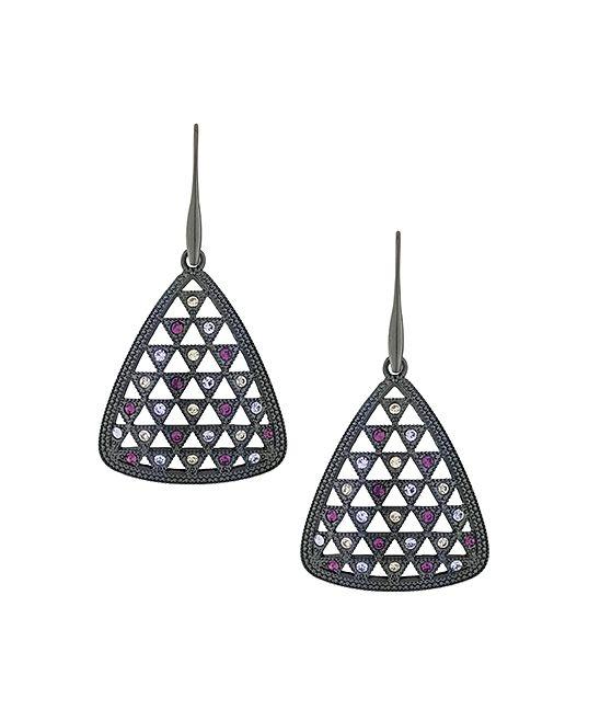 Purple Crystal & Black Rhodium Cutout Drop Earrings