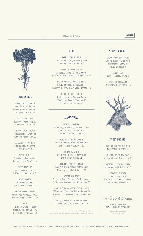 Art of the Menu: Mason's