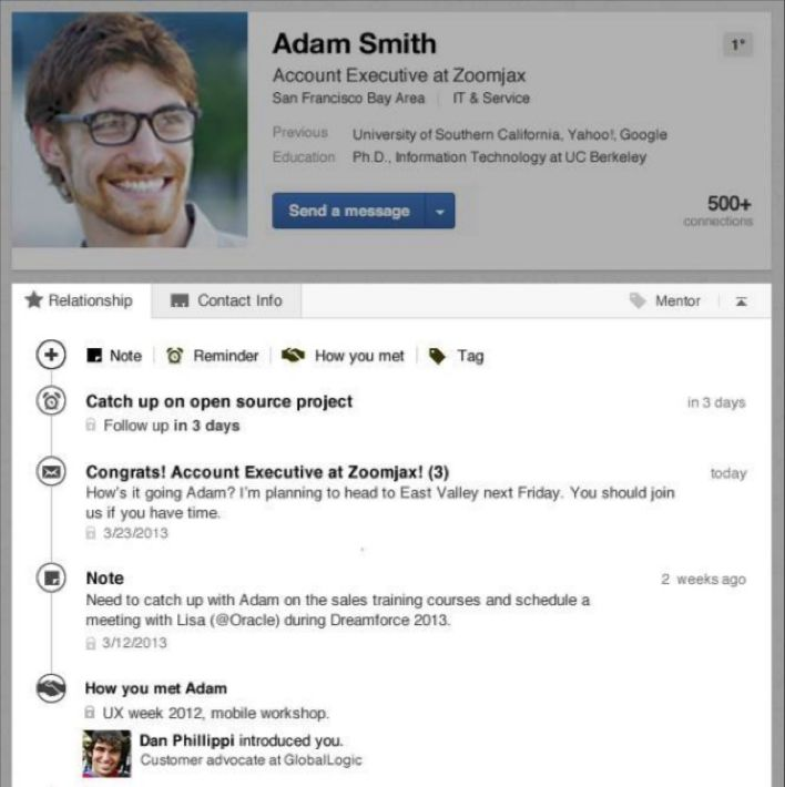 LinkedIn Contacts is a new mobile and web solution for building and maintaining relationships that are important to you.