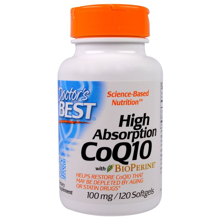 Doctor's Best, Коэнзим Q10 с высокой усваиваемостью, с биоперином, 100 мг, 120 капсул в мягкой оболочке