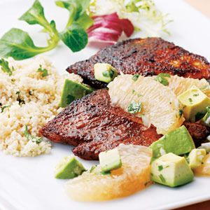 Turkey with Avocado/Grapefruit salsa