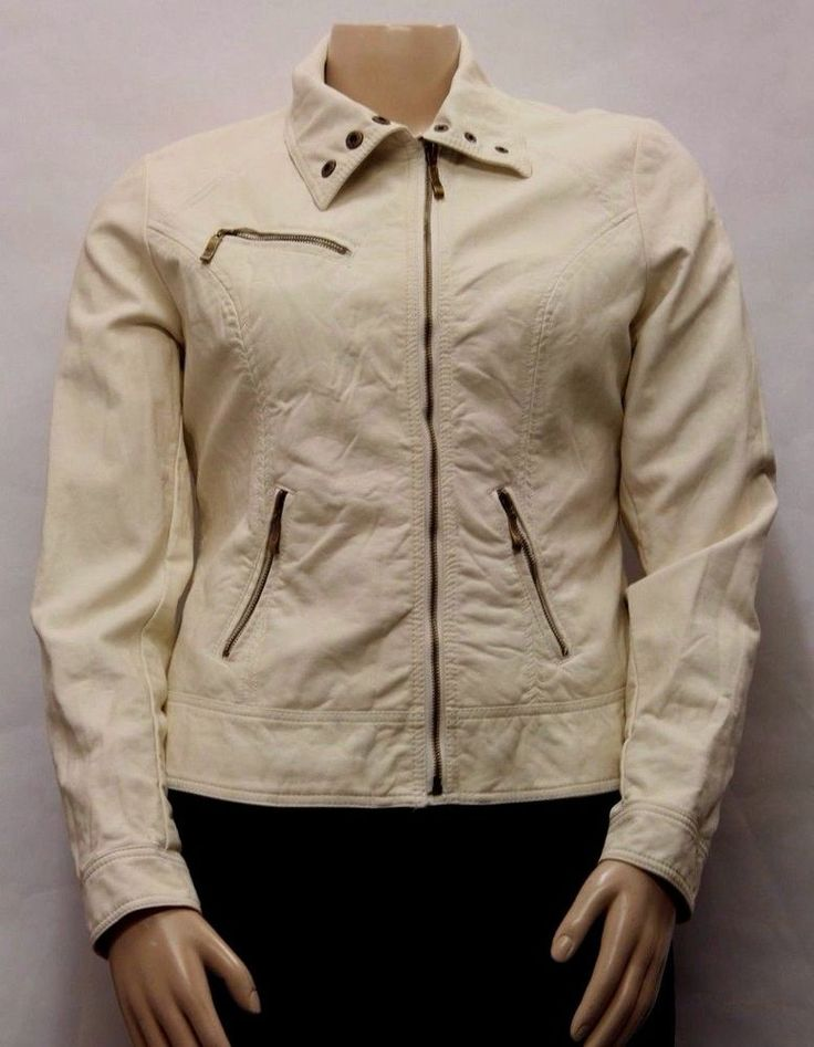 RD STYLE Research and Design Women Cream Faux Leather Moto Jacket Size L 860172 #RDStyle #BasicJacket