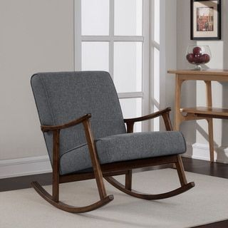 Shop for Granite Grey Fabric Mid Century Wooden Rocking Chair. Get free shipping at Overstock.com - Your Online Furniture Outlet Store! Get 5% in rewards with Club O!