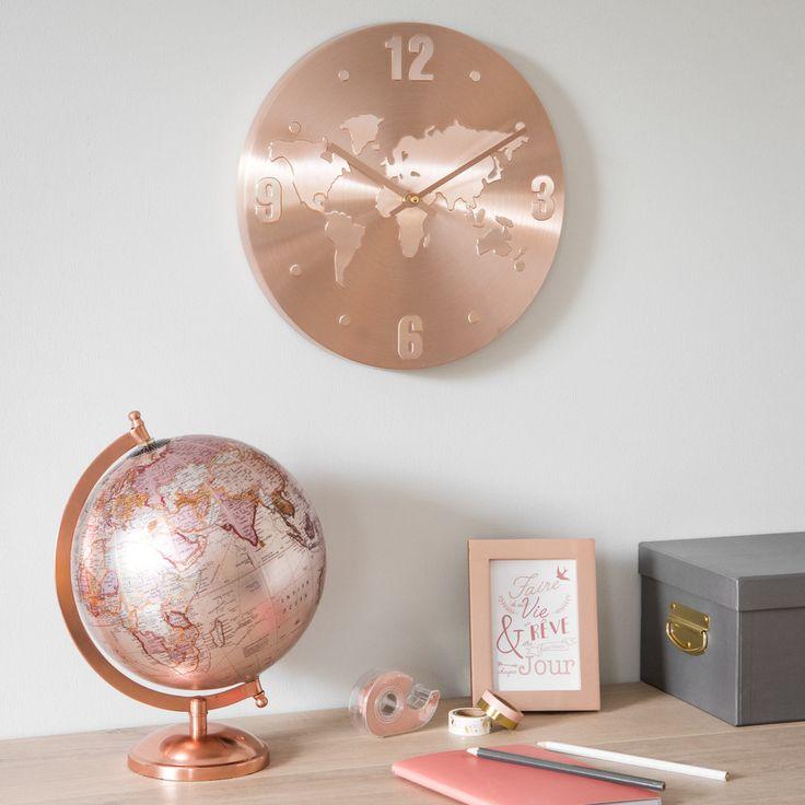 Uhr Weltkarte aus kupferfarbenem Aluminium | Maisons du Monde