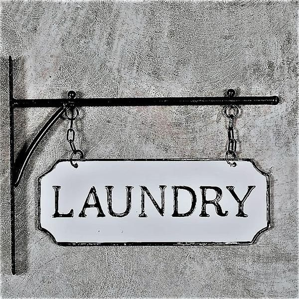 Hanging Rustic Industrial Laundry Embossed Enamel Metal Sign With