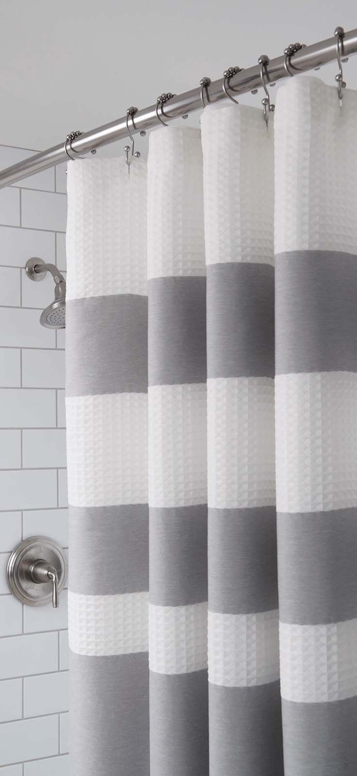 Black and white shower curtain bed bath and beyond - Better Homes And Gardens Waffle Stripe Fabric Shower Curtain