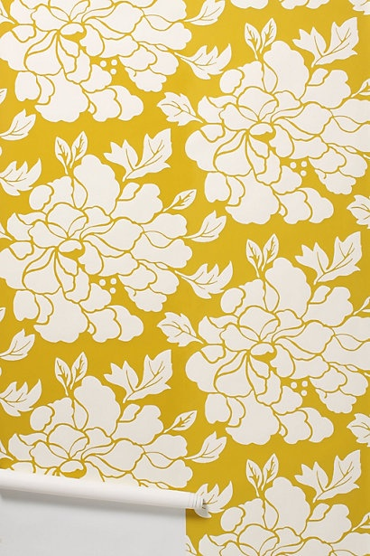 Anthropologie. I love wallpaper.: Floral Wallpapers, Dining Rooms Wallpapers, Color, Paeonia Wallpapers, Flower Wallpapers, Bathroom, Mustard Yellow, Powder Rooms, Accent Wall