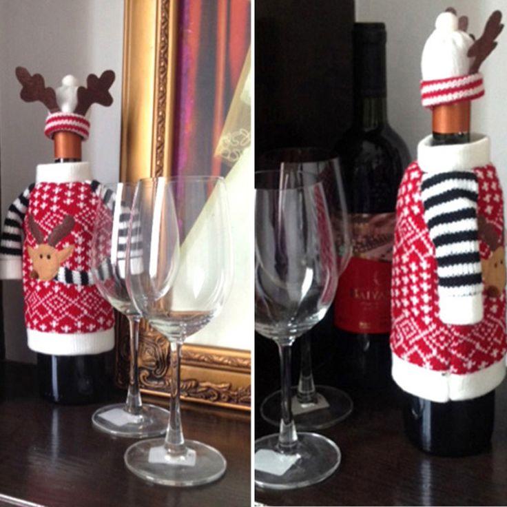Купить товар2 шт./компл. рождество симпатичные олень стиль шерсть красный бутылки вина обложка бутылка шампанского крышка украшения рога шляпы и костюмы в категории Новогодние декорациина AliExpress.        2 шт./компл. рождественские украшения Красный бутылки вина сумка одежда с шляпы для дома Рождественский ужин табл