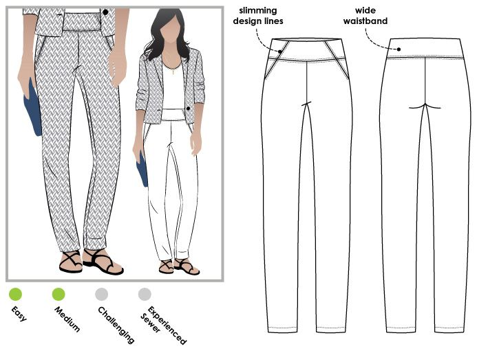 Pull on woven stretch pant with wide waistband and the perfect leg shape
