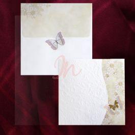 Invitatie din carton alb ornat cu un design floral in relief, iar pe partea dreapta are un design floral colorat. Invitatia se inchide cu ajutorul fluturasului ornat cu folie aurie. Plicul are aceleasi elemente: floricica si fluturas si este inclus in pret.  Pret tiparire:  0.35 lei/buc – negru  0.49 lei/buc – color  0.80 lei/buc – auriu, argintiu. #invitatie de #nunta #mirese #miri #invitatii #elegante #originale