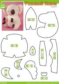 El chanchito verde manualidades : Patrones para hacer un oso de peluche y noticion!! (dragon, caballo, kanguro y koala de peluche)
