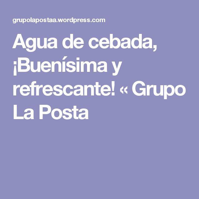 Agua de cebada, ¡Buenísima y refrescante! « Grupo La Posta