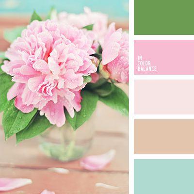 color de las peonías, color peonía rosada, colores de las peonías, marrón cálido, rosado pálido, rosado y marrón, rosado y verde, rosado y verde menta, tonos rosados, turquesa y marrón, turquesa y rosado, turquesa y verde, verde menta y marrón, verde menta y rosado, verde menta y verde,
