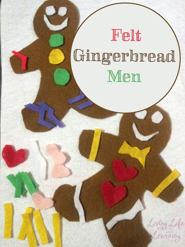 Make your own gingerbread men any way you like, this felt gingerbread men craft is a wonderfully quiet activity for your little one.