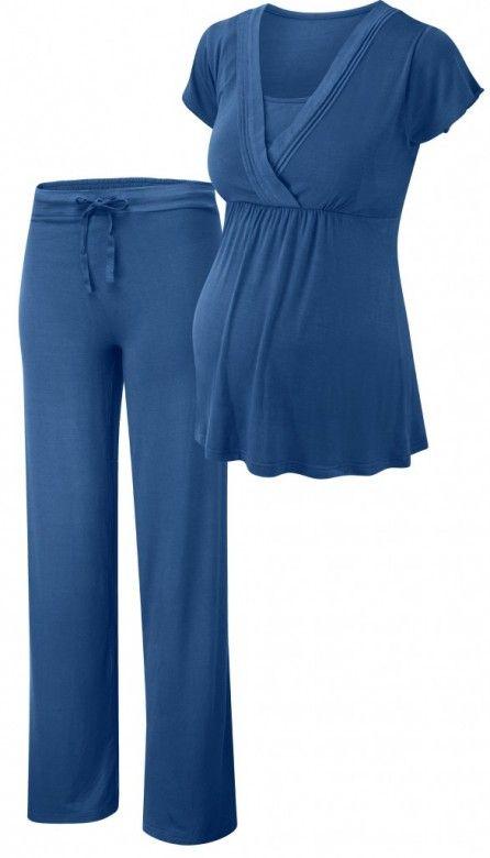 Pyžamový set pre tehotné a dojčiace mamičky. Nariasený strih pyžama dovoľuje nosenie aj pre tie najväčšie tehotenské brušká a na druhej strane zakryje bruško čerstvej mamičky. Dojčenie je jednoduché cez postranný otvor. Pod pyžamový vrch možete pre lepšiu podporu nosiť dojčenskú podprsenku na spanie Yoga.  Veľkosť pásu spodného dielu je nastaviteľná pomocou jemnej šnúrky.