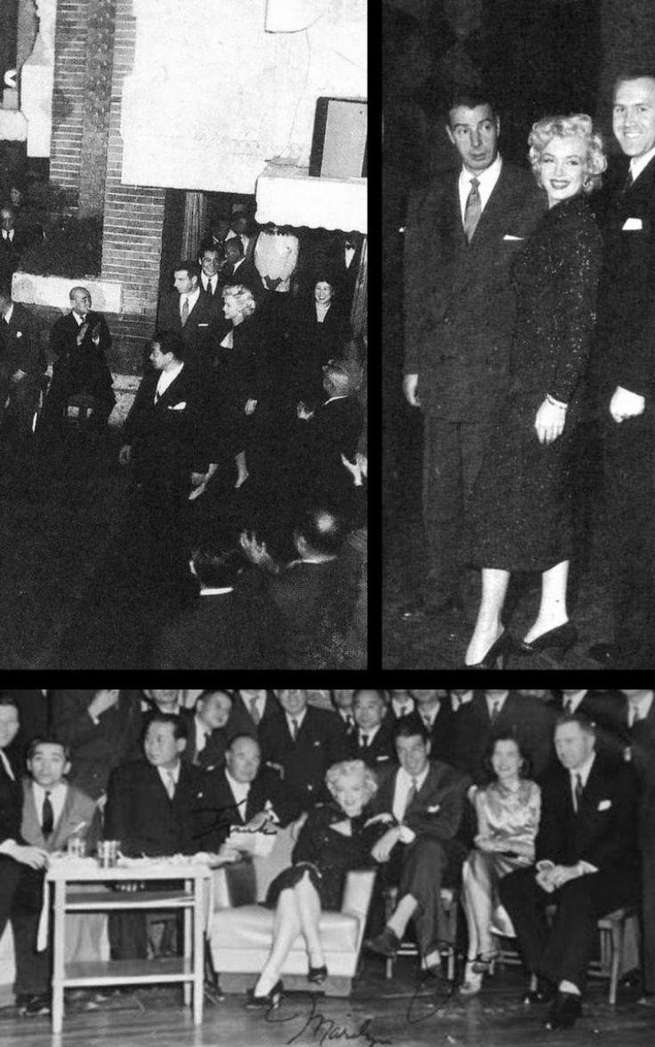 """1954, dernière soirée de gala pour le couple DiMAGGIO à """"L'Imperial Hôtel"""" de Tokyo avant le grand départ pour la Corée où Marilyn se produira dans diverses bases militaires."""