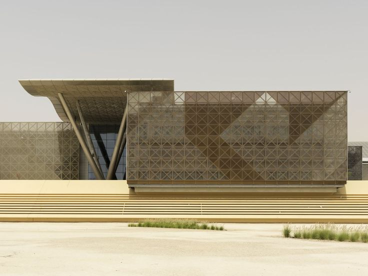 Elevational view of ittc double skin facades for Architecture qatar