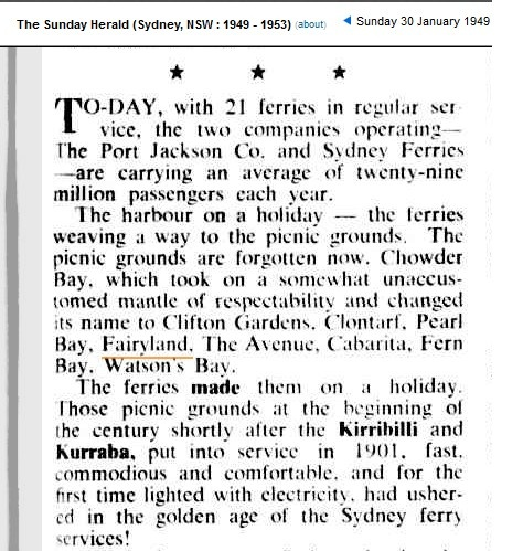 1949 article in the SMH about the picnic grounds of Sydney- and the ferries that serviced them