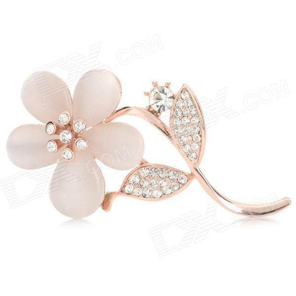 Color: Rose Golden + Beige; Brand: N/A; Model: N/A; Quantity: 1 Set; Material: Zinc alloy + opal + rhinestone; Packing List: 1 x Brooch1 x Case; http://j.mp/1lkxnf6