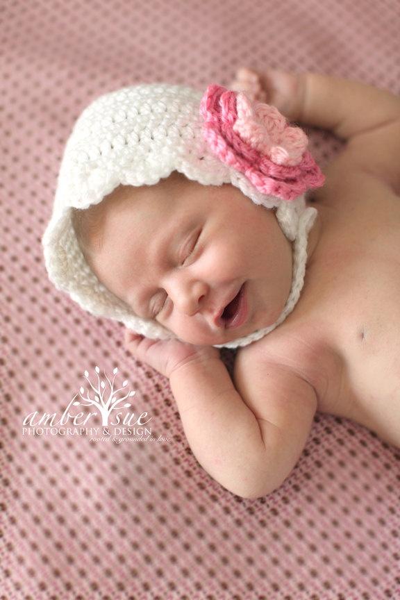 White baby girl newborn photo prop bonnet by preciouspropsshop 12 00