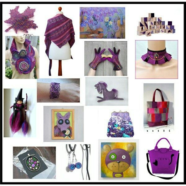Purple handbag.