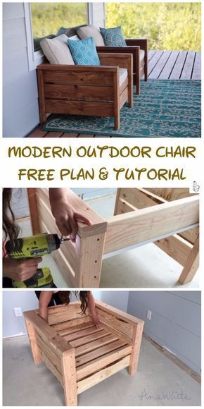 DIY Outdoor Seating Projects Tutorials – DIY Modern Outdoor Chair Tutorial #outd… – outdoorsy