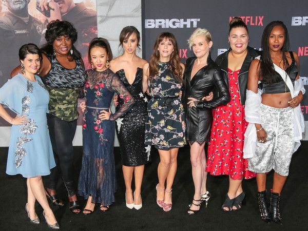 Kimmy Gatewood Photos - Rebekka Johnson, Kia Stevens, Brit Baron, Jackie Tohn, Kimmy Gatewood and Britney Young are seen arriving at the Premiere Of Netflix's 'Bright' at Regency Village Theatre in Los Angeles, California. - Premiere of Netflix's 'Bright'