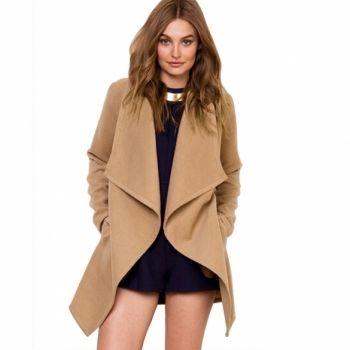 Stylish Ladies Women Casual Cool Lapel Neck Long Sleeve Wool Cardigan Coat Jacket Windbreaker