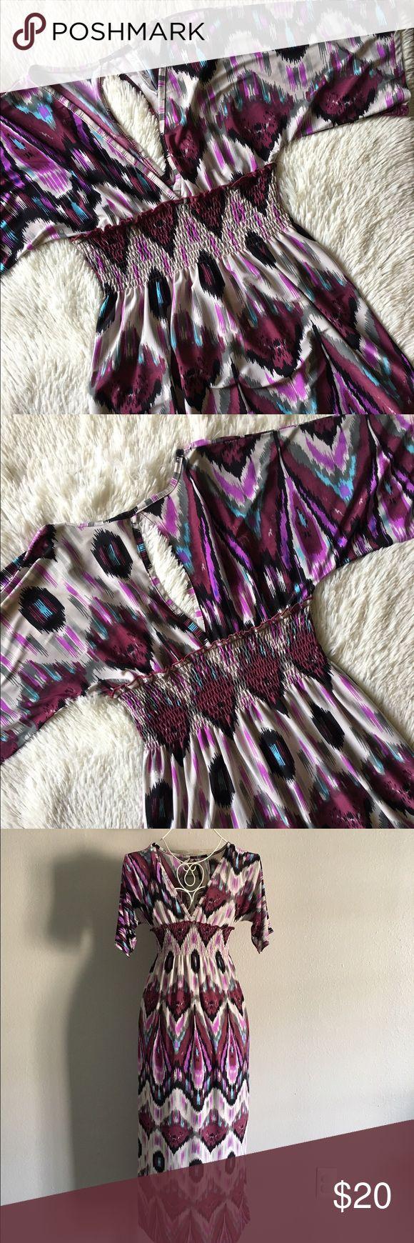 Christina Love Aztec print maxi dress. Excellent condition. Christina Love Aztec Print maxi dress. Size Sm. 95% polyester,5% spandex. Armpit to armpit approximately 15 inches and approximately 49 inches long. Very flattering! Christina Love Dresses Maxi