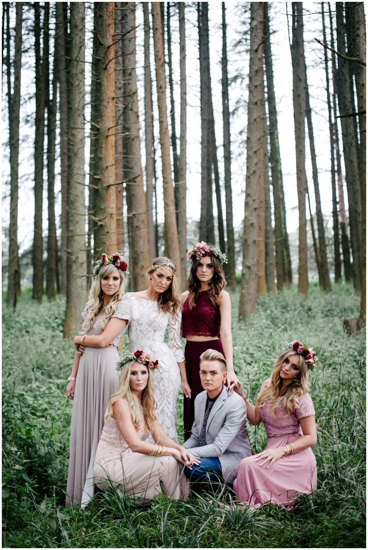 www.vanillaphotography.co.za | Durban wedding photographer Durban wedding venue, The Orchards, bride & bridesmaids, bridesmaids outfit, trendy bride & bridesmaids, crop top and long skirt, flower crowns, striking bridal party.