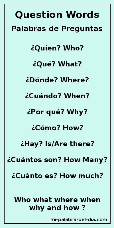Mi Palabra Del Dia: Palabras de Preguntas Question Words Who, what, where, when , why and how? ¿Quién, Qué, Dónde, Cuándo, Por qué y Cómo?