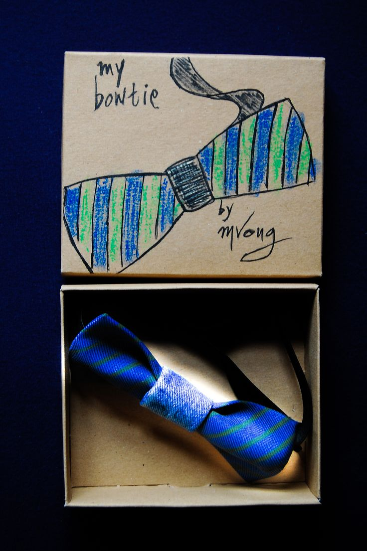 a bowtie with hand paited strips