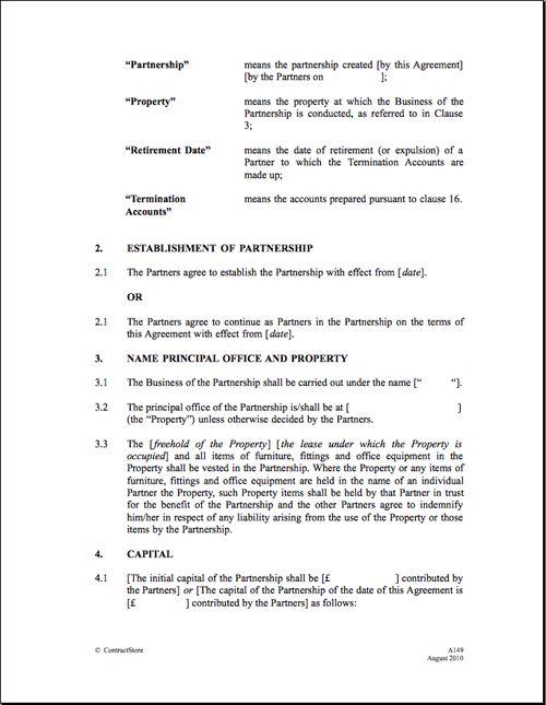 Printable Sample Partnership Agreement Template Form
