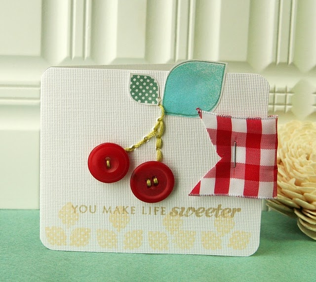 just a card is always great!!!: Cute Cards, Cards Ideas, Buttons Cherries, Cards Scrapbook, Birthday Cards, Cherries Cards, Paper Crafts, Buttons Cards, Cherries Buttons