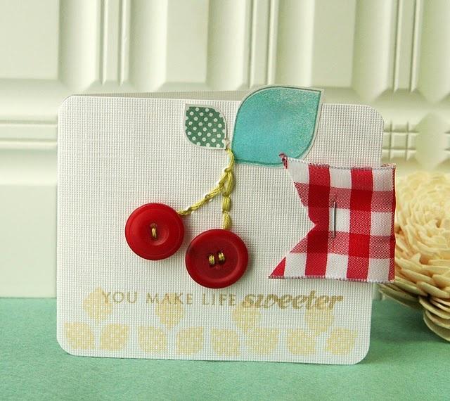 .: Cherries Card, Card Idea, Buttons Card, Birthday Card, Buttons Cherries, Cute Card, Paper Crafts, Card Scrapbook, Cherries Buttons