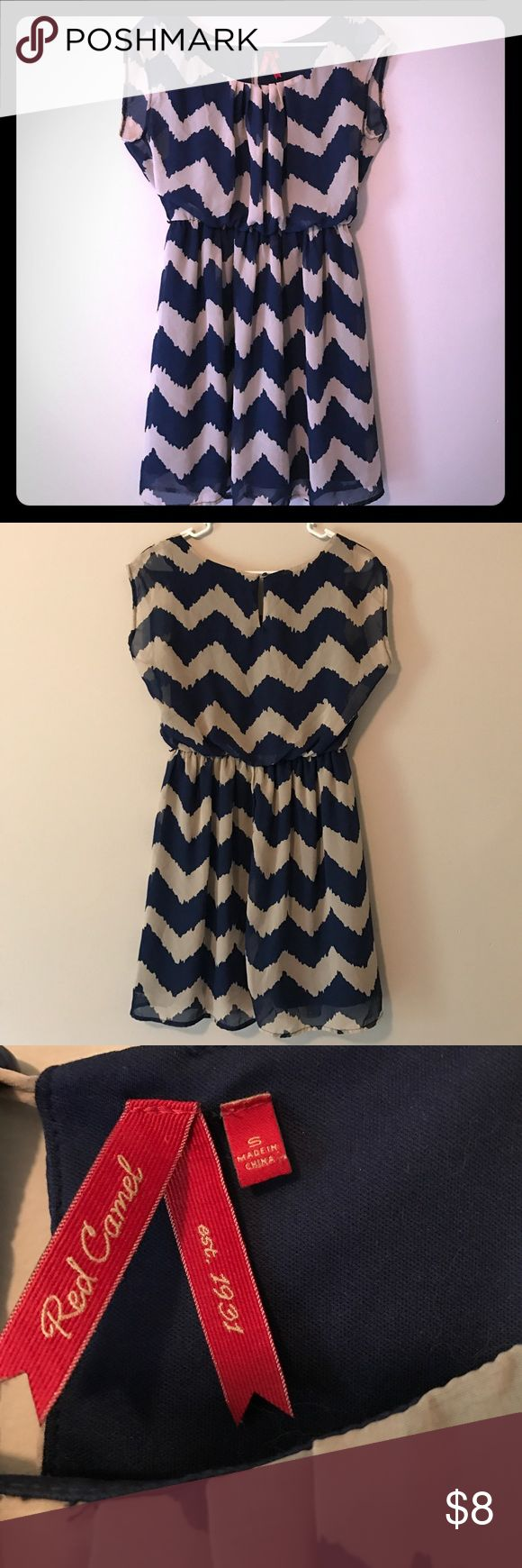 Women's Chevron Dress - with underskirt Cute Women's Red Camel Chevron Dress in Navy and Tan! Short sleeve with a navy underskirt for full coverage! Gathers at the waist to flatter your figure - used condition with one small pick shown in picture Red Camel Dresses Midi