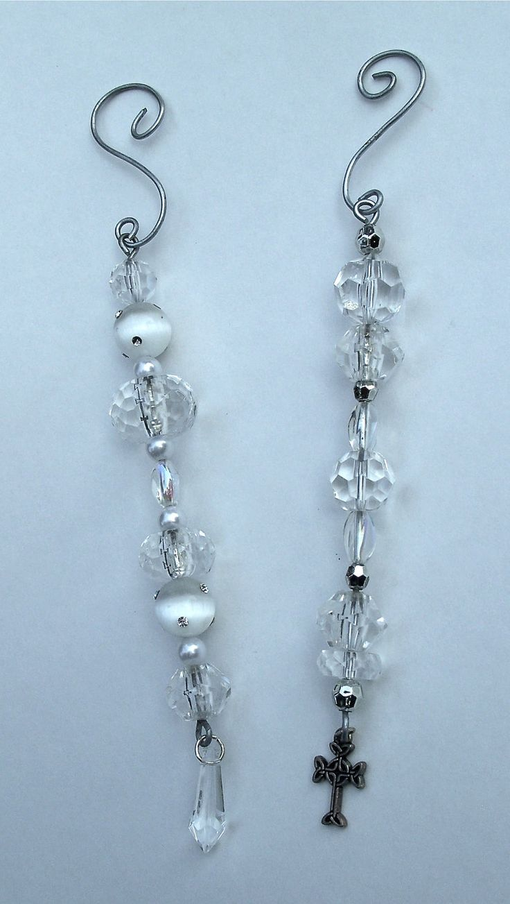 Ice cycle ornaments - Crystal Beaded Christmas Ornaments Set Of Two Icicle Ornaments 12 50 Via Etsy