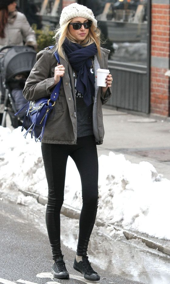 Whitney Port Wearing Her Utility Military Jacket Around New York, 2010