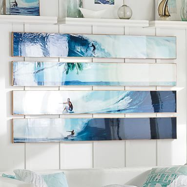Bamboo Panel Planked Art and Set // Made from environmentally responsible bamboo and exclusively designed with 11-time world surfing champ Kelly Slater, this handmade artwork adds unique surfer style to your space.