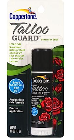 Review, Coppertone Tattoo Guard Sunscreen Stick SPF 50......You pay to much for good ink to ruin it in the sun....//ooh I have to get this