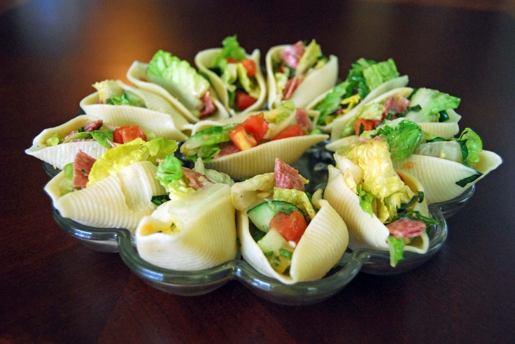 Salad Stuffed Shells - What a great idea! You can put anything you like in the shells!  I think Chicken salad or Tuna salad would be great too!!!