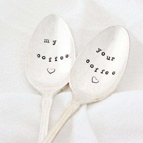 My Coffee & Your Coffee spoons hand by MilkandHoneyLuxuries, $25.00