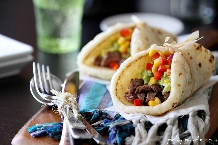 Carne Asada Soft Tacos w/ Guacamole and Corn