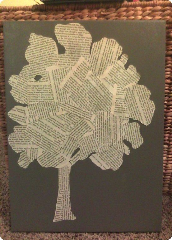 Brooke from Inside-Out Design was thrilled when she saw tree art made from book pages while walking through a West Elm store. She loved the look and knew she could easily replicate it with a canvas and a book she didn't mind dedicating to the cause. Brooke suggests using pages from different books to incorporate a variety of text sizes, fonts, and paper shades