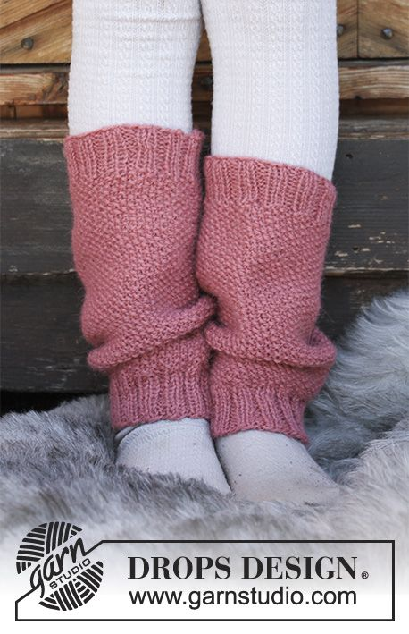 Røsslyng - Children's knitted leg warmers with moss stitch. Sizes 3 - 12 years. The piece is worked in DROPS Puna. Free knitted pattern DROPS Children 30-25
