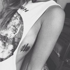Pine trees tattoo, tree tattoo, side tattoo