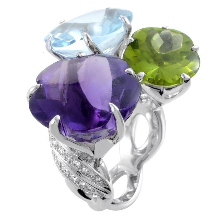 Chanel White Gold Diamond and Triple Gemstone Flower Cocktail Ring, der with amethyst, aquamarine and peridot